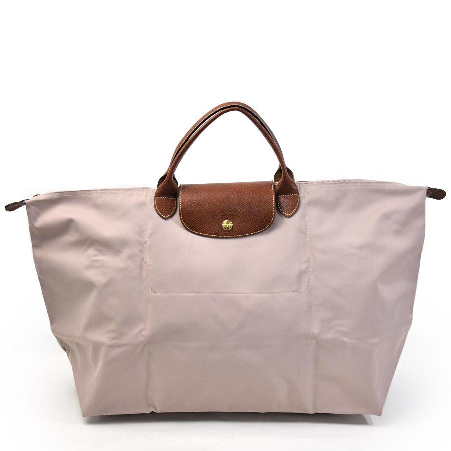 c4e90377734 [basic popularity] [used] Longchamp [LONGCHAMP]  ルプリアージュハンドバッグトートバッグレディースベージュパープル x brown nylon x leather