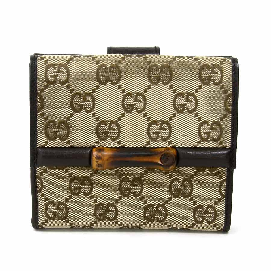 7d8e9fd62c2  beautiful article  It is Gucci  GUCCI  GG bamboo W hook folio wallet  Lady s men beige system x dark brown GG canvas x leather x bamboo  used