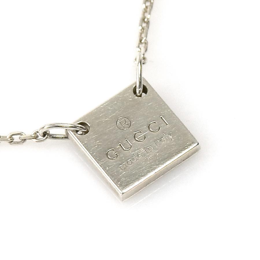 ea80a5f17 BrandValue: Gucci GUCCI necklace square plate silver silver 925 lady's men's  - y13217   Rakuten Global Market