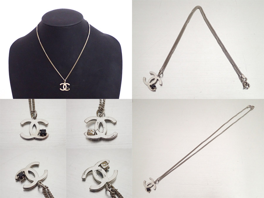 Brandvalue rakuten global market chanel chanel necklace here mark basic popularity used chanel chanel here mark necklace chain necklace logo pendant ladys silver x black metal material x rhinestone aloadofball Image collections