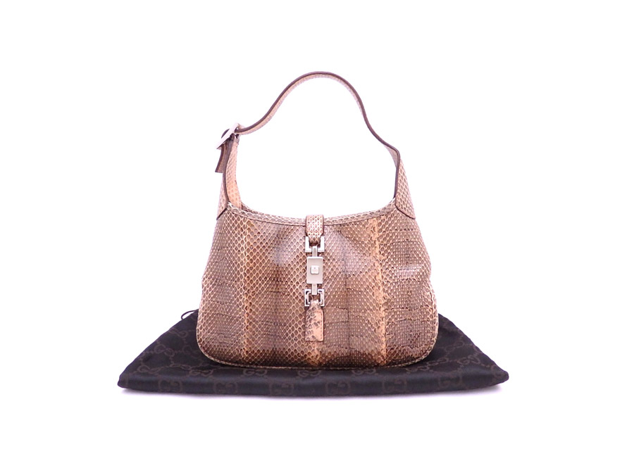 5557abc7b [basic popularity] [used] Gucci [GUCCI] Small Jackie bag mini-shoulder bag  accessory bag Lady's pink x gray x silver metal fittings python leather