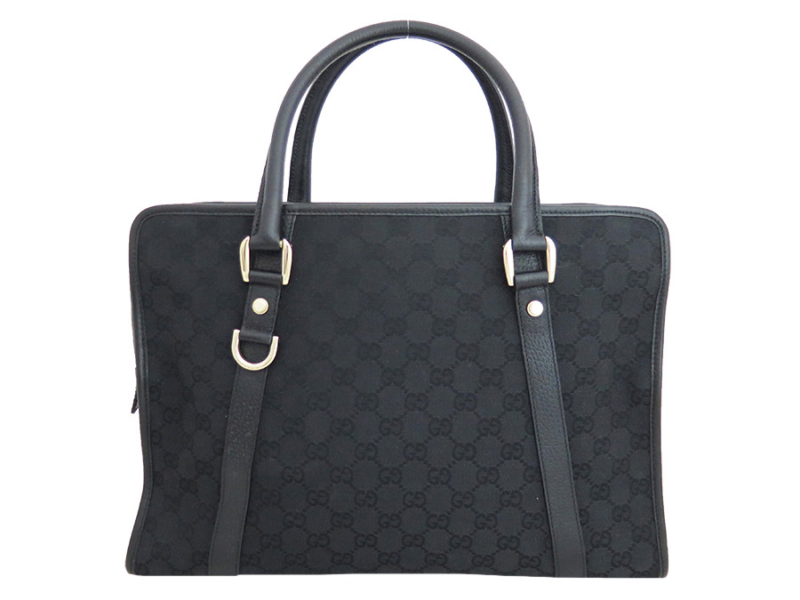 8cd7a15a6b 130940 Gucci GUCCI bag GG canvas black x gold metal fittings canvas x  leather briefcase handbag ...