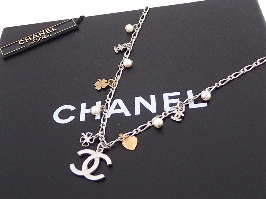 e6973b309 BrandValue: Chanel CHANEL necklace lucky charm here mark silver x white x  gold metal material x fake pearl logo necklace chain necklace Lady's -  e31674 ...