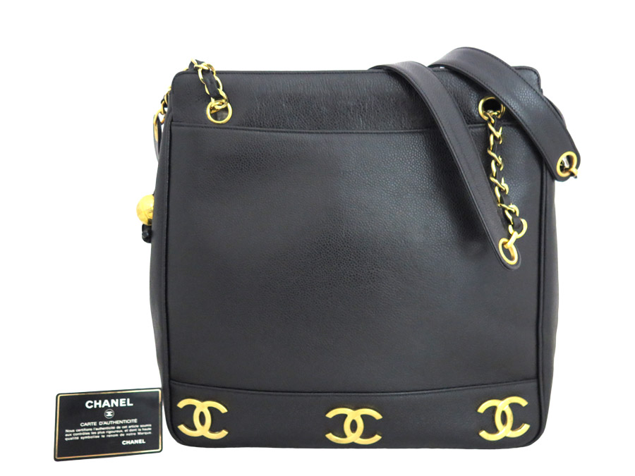 486322c286d5 [basic popularity] [used] Chanel [CHANEL] CC mark tote bag shoulder bag  Lady's black caviar skin x gold metal fittings