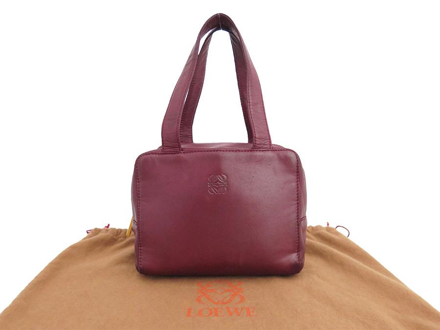 basic popularity   used  Loewe  LOEWE  logogriph bag handbag mini-bag lady  wine red x gold metal fittings leather faa28871e3773