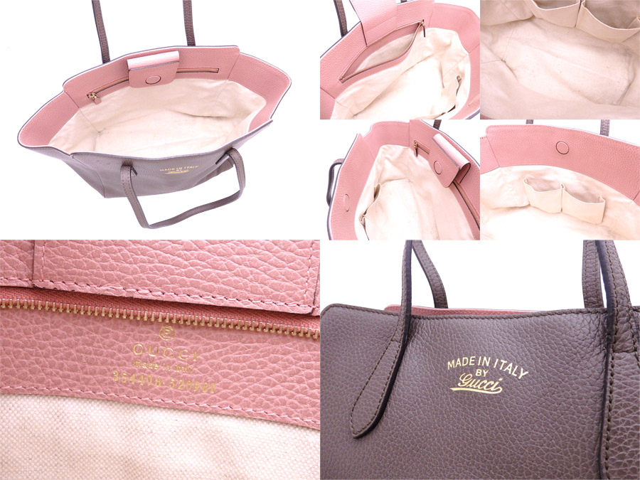 642bcac7ec [basic popularity] [used] Gucci [GUCCI] swing bag tote bag shoulder bag  Lady's graige x pink leather