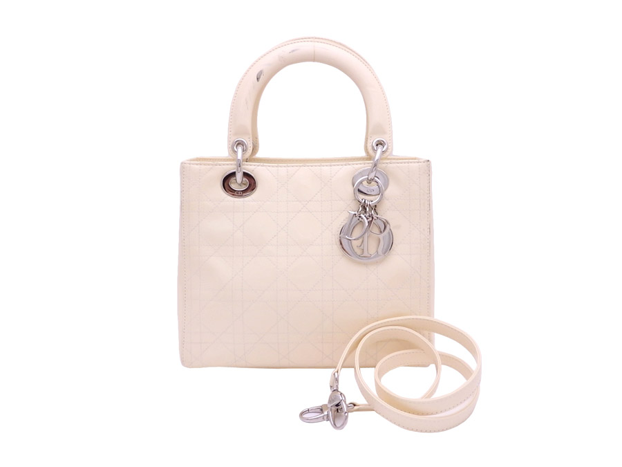 75d921d3a Christian Dior Christian Dior 2Way bag lady Dior off-white x silver metal  fittings patent ...