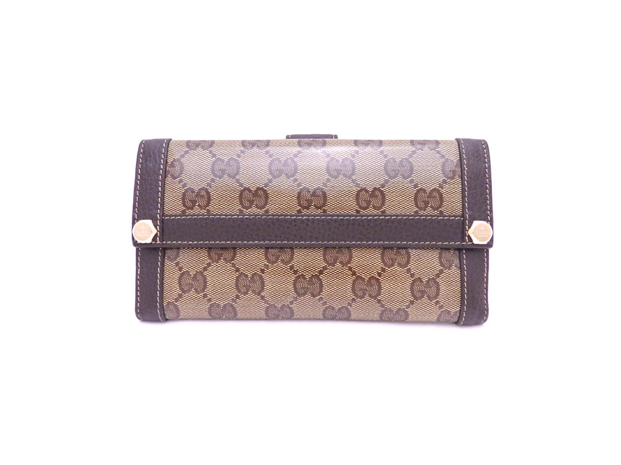 2dbbc9c3c8e ... popularity   used  Gucci  GUCCI  GG crystal long wallet W hook folio  long wallet wallet Lady s men brown x gold metal fittings coating canvas x  leather