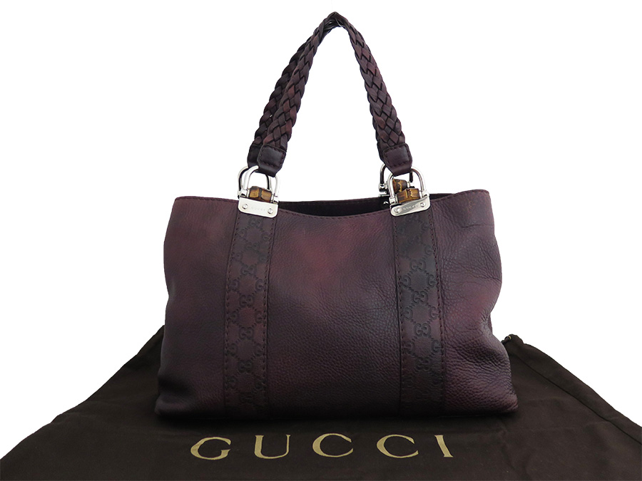 232947 Gucci Bag Bamboo Bar Dark Purple X Silver Metal Ings Leather Tote Shoulder Lady S Men E31999