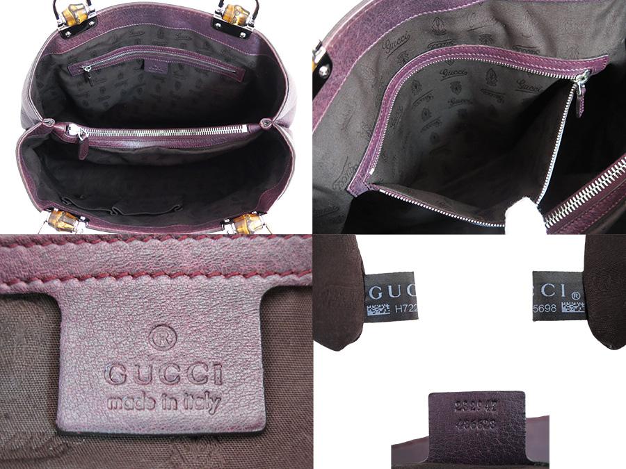 Basic Pority Used Gucci Bamboo Bar Bag Tote Shoulder Lady S Men Dark Purple X Silver Metal Ings Leather