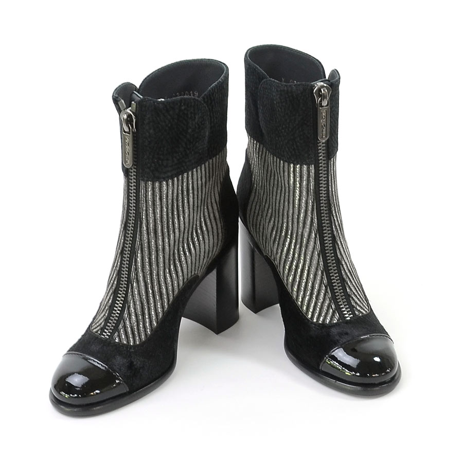 【美品】シャネル CHANEL 靴 ショートブーツ (36) ブラックxグレー スエードxハラコxパテントレザー レディース G32019 送料無料【中古】 - 94996