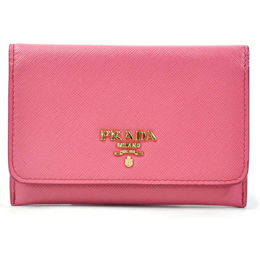 プラダ PRADA カードケース パスケース ピンク系xゴールド サフィアーノレザー 【中古】【おすすめ】 - g0257