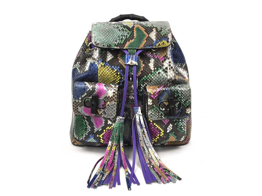 c35cddd9c52 Gucci GUCCI backpack bamboo-limited product resort collection multicolored  python leather (snake-skin disease) x silver metal fittings rucksack - ...