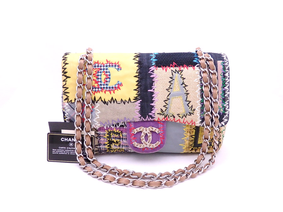 Chanel Bag Patchwork Multicolored X Silver Metal Ings Leather Tweed Patent Canvas Chain Shoulder Lady S E31897