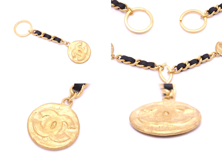 Chanel CHANEL key ring here mark vintage gold x black metal material x leather key ring bag charm Lady's - e31914
