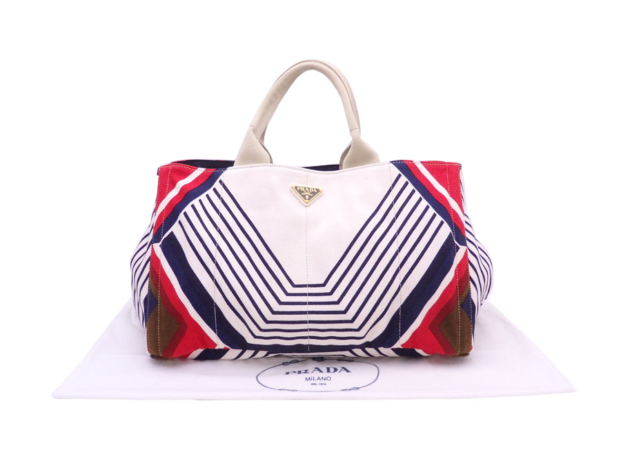 0c562bd7c1a6 [there is reason] It is Prada [PRADA] triangle  ロゴカナパバッグハンドバッグトートバッグレディースホワイト x multicolored canvas [used]