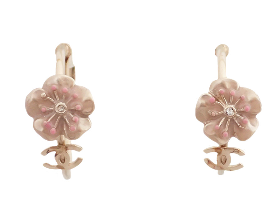 Basic Pority Used Chanel Here Mark Cherry Tree Motif Earrings Lady S Pink X Gold Metal Material Enamel