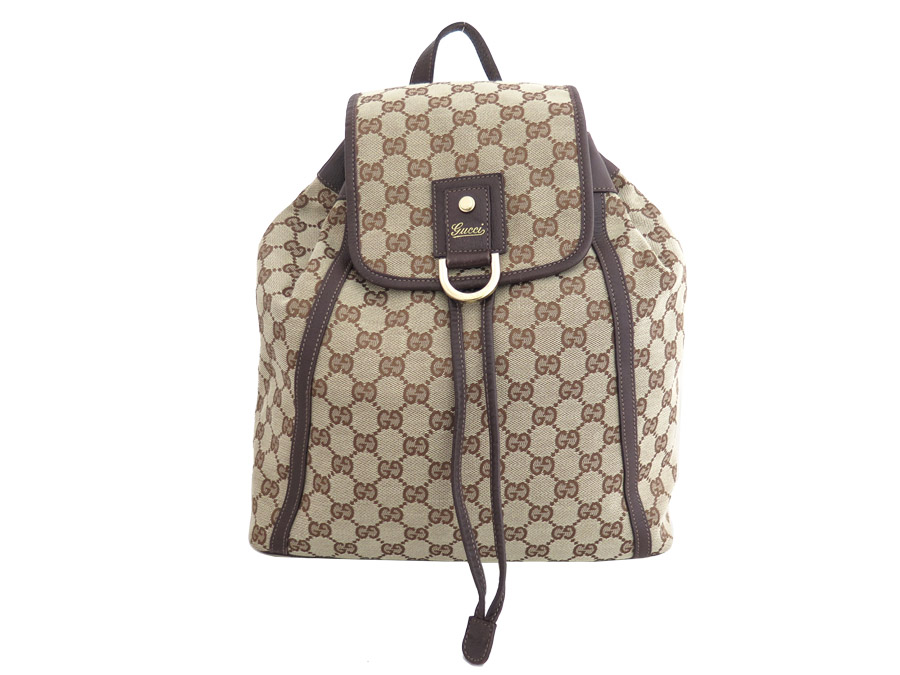 a0bfff3f439 It is a Gucci  GUCCI  GG canvas rucksack backpack bag lady brown x dark  brown x gold metal fittings canvas x leather x metal material  soot   used