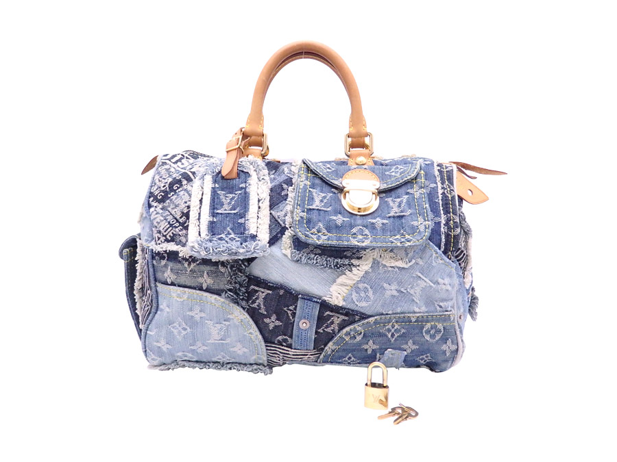 28335f57e5e3 It is Louis Vuitton  Louis Vuitton  monogram denim patchwork speedy 30 bag  handbag mini-Boston bag Lady s blue x brown x gold metal fittings monogram  denim ...