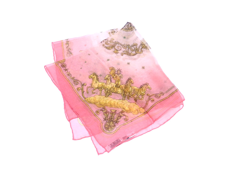 b5547adb78bdc [basic popularity] [used] 100% of Hermes [HERMES] handkerchief scarf pocket  handkerchief Lady's men pink x gold silk