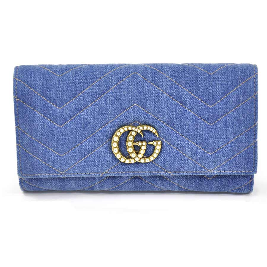 b9898278c253 BrandValue: Takeru Gucci wallet GG マーモント Japan-limited denim long wallet  denim blue system quilting denim GUCCI Lady's 443,436-95,159 | Rakuten  Global ...
