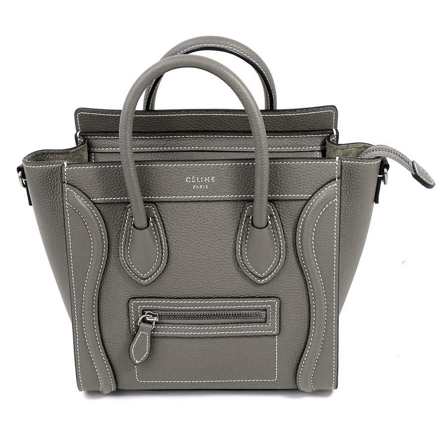 beautiful article  It is luggage nano shopper handbag shoulder bag 2Way bag  lady graige system leather  used  for Celine  CELINE  2 fb4c37b643e73