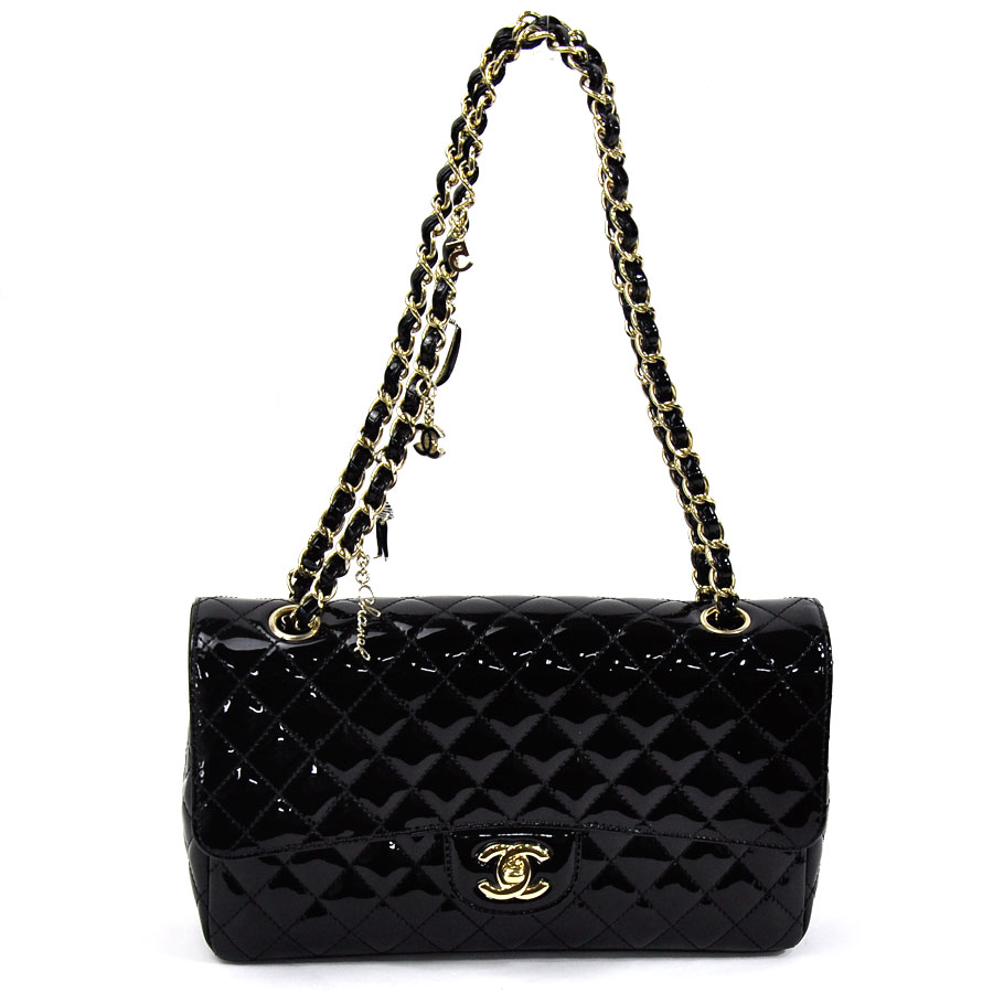 3103c32b3fbc [beautiful article] It is Chanel [CHANEL] matelasse here mark chain shoulder  bag Lady's black x gold patent leather [used]