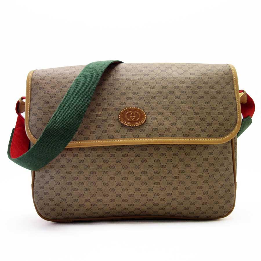 4f6f504d0d1d BrandValue  Take Gucci GUCCI slant  x red x green PVCx leather Lady s men -  x2314 of shoulder bag vintage GG sherry line Brown line