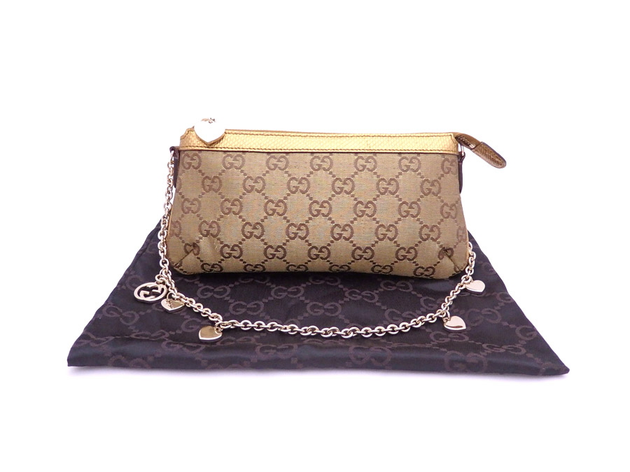 It Is Gucci Gg Pattern Heart Charm Handbag Accessories Porch Shoulder Bag Lady S Bronze X Gold Metal Ings Nylon Leather Soot Used