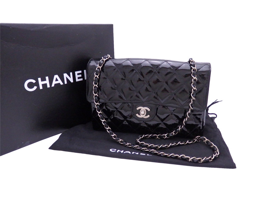 3fc9b3940c0a [basic popularity] [used] a Chanel [CHANEL] matelasse bag shoulder bag  chain shoulder Lady's black x mat silver metal fittings patent leather x  metal ...
