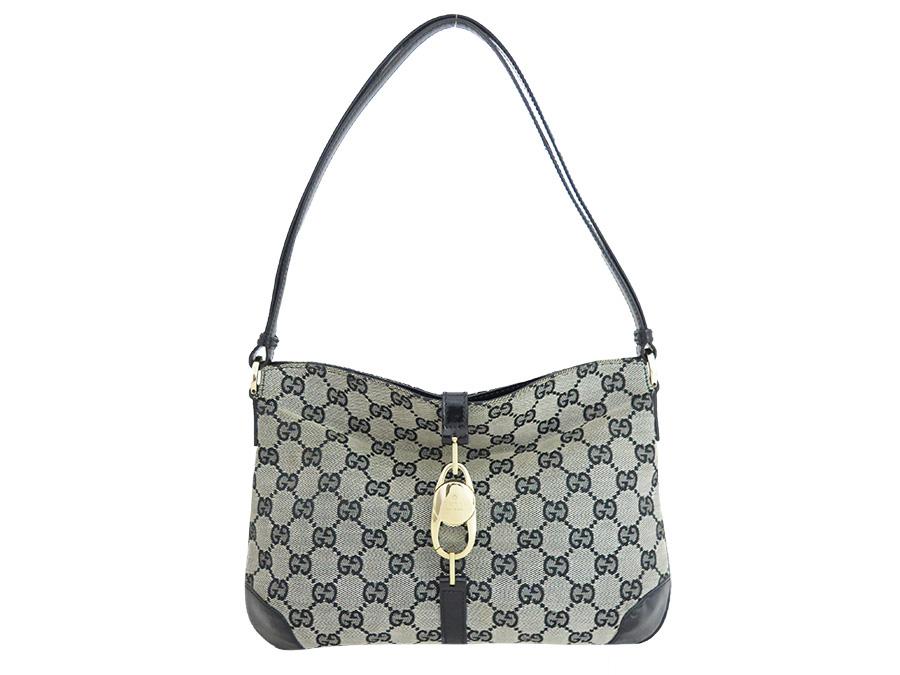 29b3491bff BrandValue: Gucci Gucci GG canvas shoulder bag handbag black canvas x  leather Lady's - e32499 | Rakuten Global Market