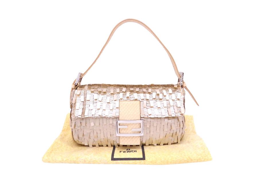 e18dc71031b7  basic popularity   used  Fendi  FENDI  baguette bag shoulder bag handbag  Lady s beige x silver metal fittings spangles x python leather x beads