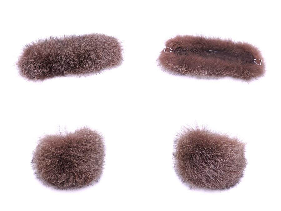 Hermes HERMES scarf brown Fox fur neck warmer tippet Lady's - e32669