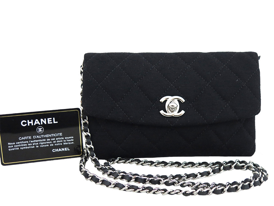 d5fd8524b51 Take a Christmas-limited bag mini-shoulder bag slant  is soot   used  in  Chanel  CHANEL  matelasse 2011  bag lady black x silver metal fittings  cotton ...