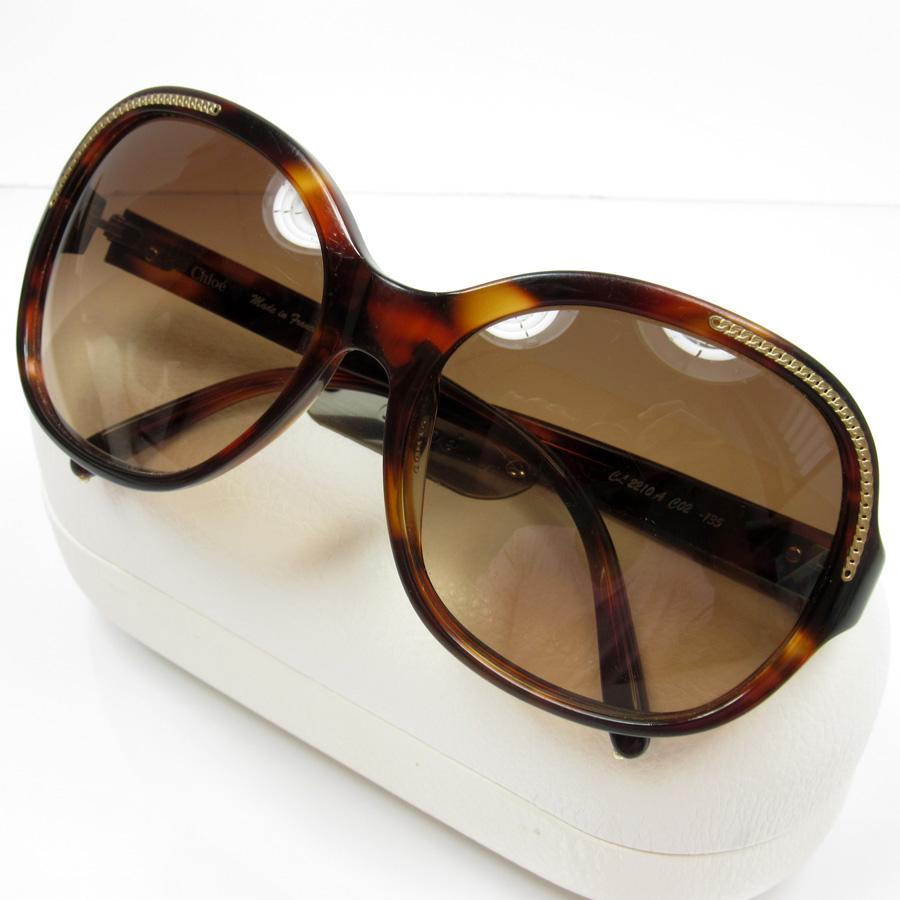 2b19b3d7fc25 A Kuroe  Chloe  sunglasses 60 □ 16 135 lady s lens  Brown frame   temple  Brown  x yellow plastic x metal material  used  constant seller popularity