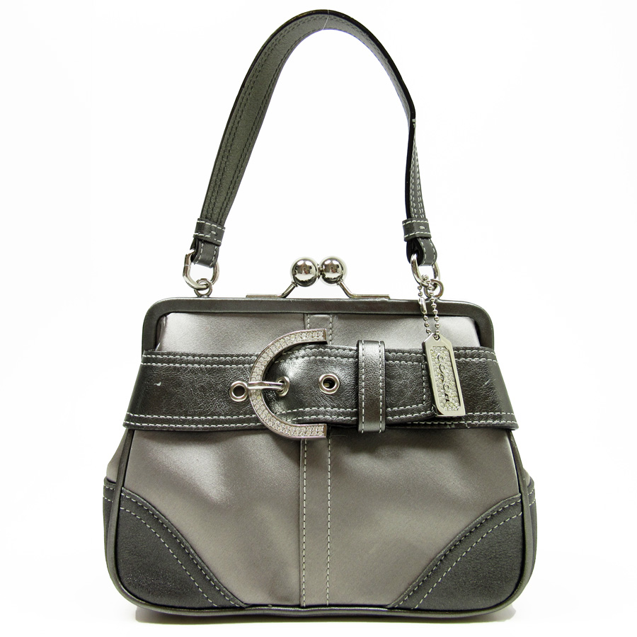 Coach Handbag Lady S Silver X Gray Satin Leather Used Constant Er Pority