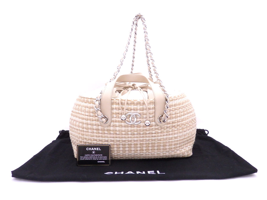 756a26140f71 Chanel CHANEL 2Way bag here mark basket bag beige x silver metal fittings  straw x leather ...