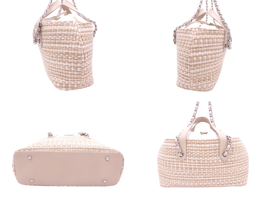 f1a5376b317c ... Chanel CHANEL 2Way bag here mark basket bag beige x silver metal  fittings straw x leather ...