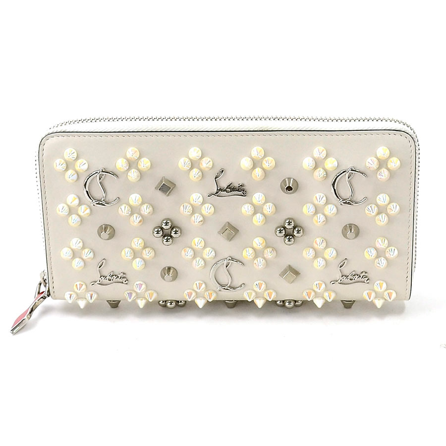 Christian Louboutin Round Fastener Long Wallet Panettone Off White System X Silver Leather Studs Ladys 95308