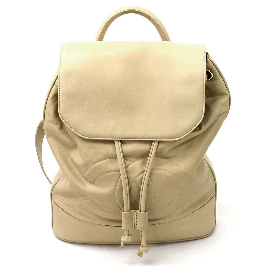 9fb747604928 BrandValue: Chanel rucksack here mark beige leather CHANEL Lady's ...