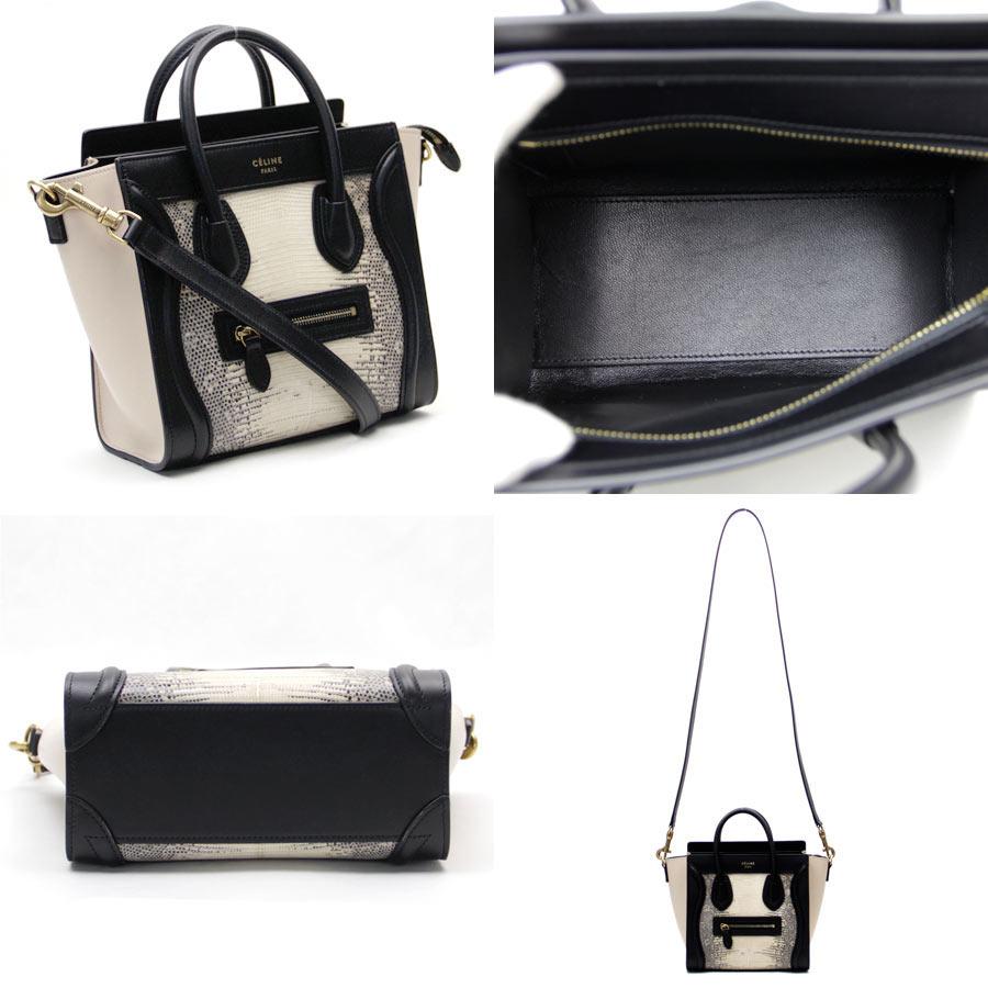 9ae37e314f13  unused   new article  Celine  CELINE  luggage nano shopper handbag  shoulder bag 2Way bag lady beige x black lizard x leather