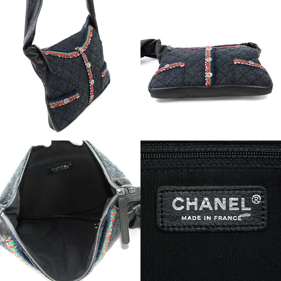 736de5d2f17f13 It is Chanel [CHANEL] girl Chanel tweed jacket motif shoulder bag Lady's  gray x black x multicolored x silver metal fittings wool x leather [soot]  [used]