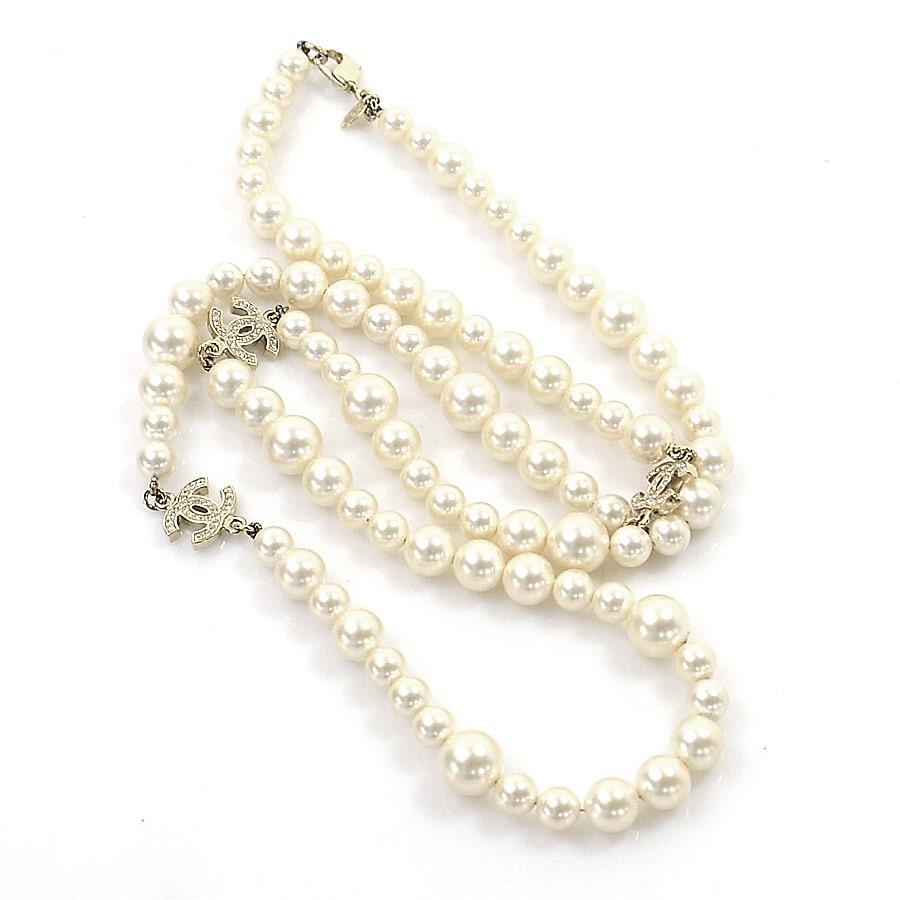 30164f7bc BrandValue: Chanel necklace here mark pearl off-white x gold metal fittings fake  pearl x rhinestone CHANEL Lady's - i0074 | Rakuten Global Market