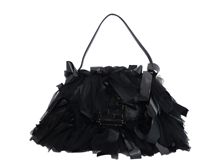 BrandValue  Fendi FENDI 3Way bag logo black x silver vinyl x race x patent  leather handbag clutch bag shoulder bag Lady s - e33499