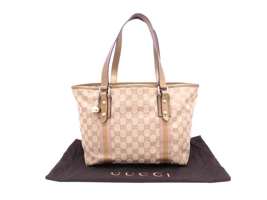 ff12593e47f5 BrandValue: Gucci GUCCI bag GG canvas beige x gold canvas x leather tote  bag shoulder bag Lady's 137396 - e33557 | Rakuten Global Market