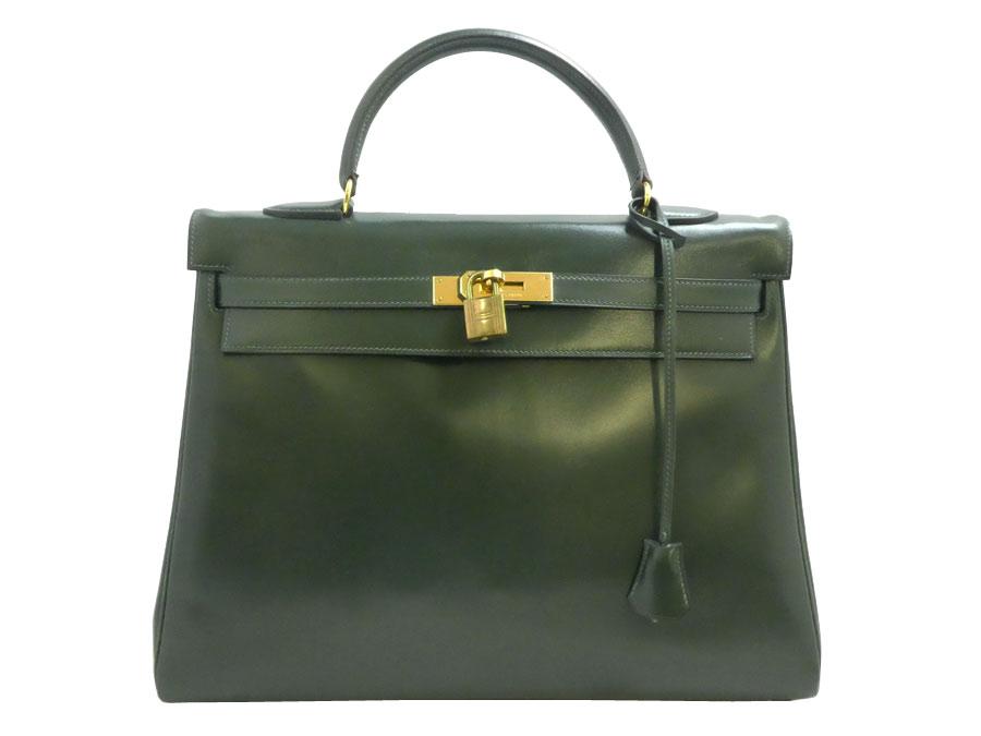エルメス HERMES ハンドバッグ ケリー35 グリーン ボックスカーフ ゴールド金具 バッグ 送料無料 【中古】【おすすめ】 - e33674