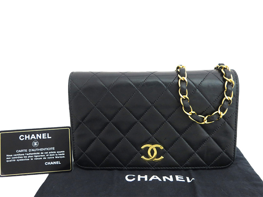 0a5abaad616682 Chanel CHANEL bag matelasse single flap black x gold metal fittings  lambskin leather chain shoulder bag ...