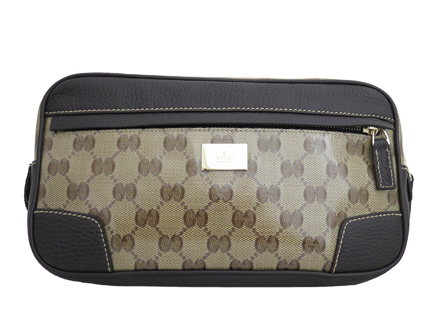 ae7843be0 [basic popularity] [used] Gucci [GUCCI] GG crystal bag bum-bag hips bag lady  men beige x brown x gold metal fittings coating canvas x leather