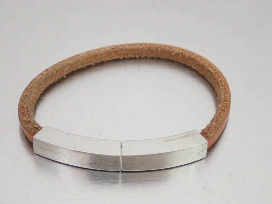 Hermes Leather Bracelet Brown X Silver Metal Material Men E33981