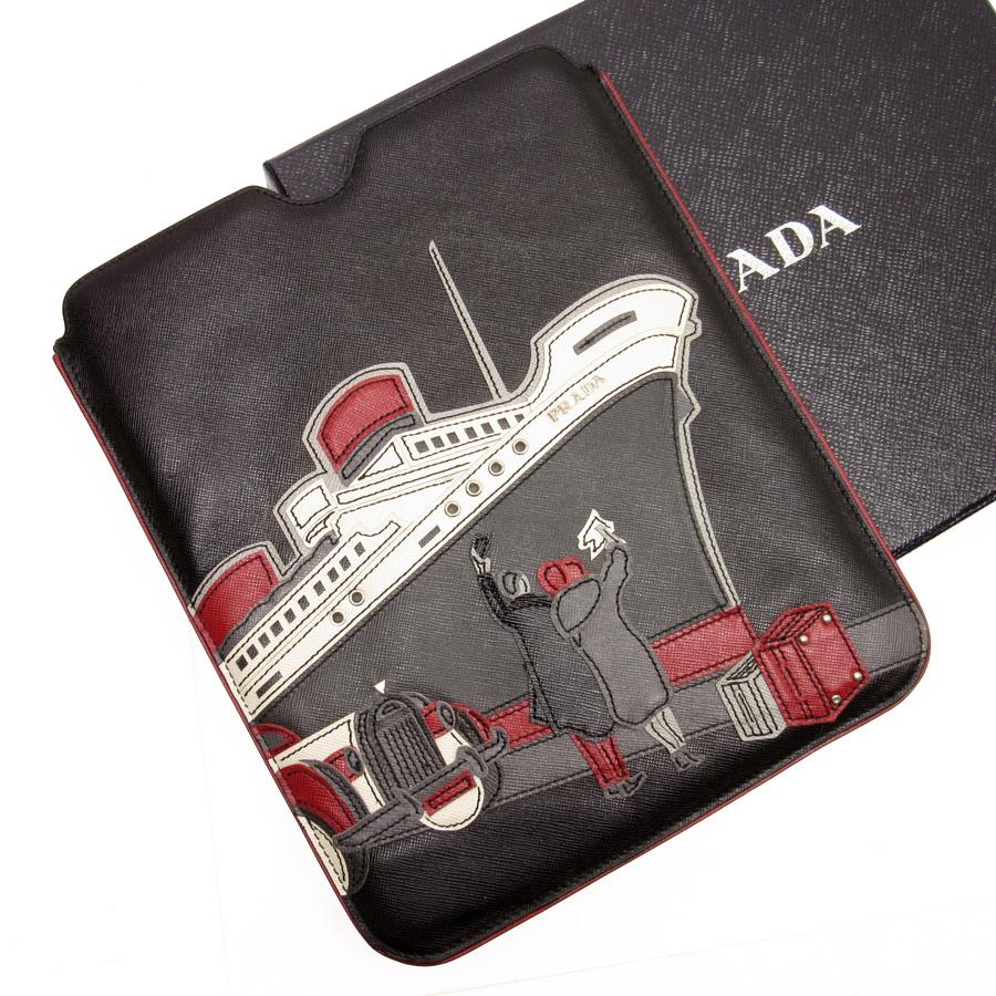 6359e648b334 Prada PRADA iPad case ◇ black system leather ◇ constant seller popularity ◇  Lady s men - h14776